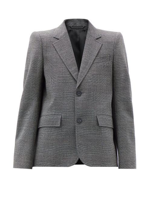 Balenciaga チェック ウールシングルジャケット Gray
