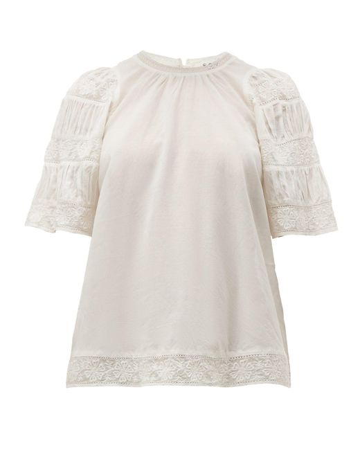 Sea White Audrey Puffed Sleeve Cotton Blend Top
