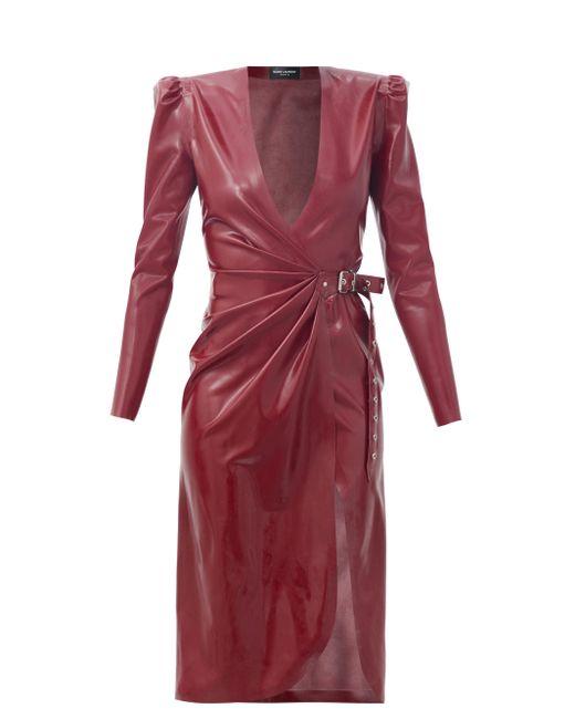 Saint Laurent ラテックス ラップドレス Red