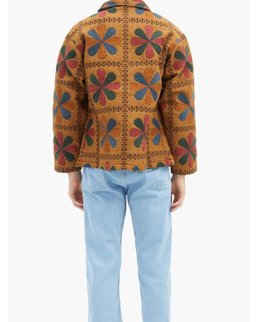 メンズ Bode タブロー コットンピケジャケット Blue