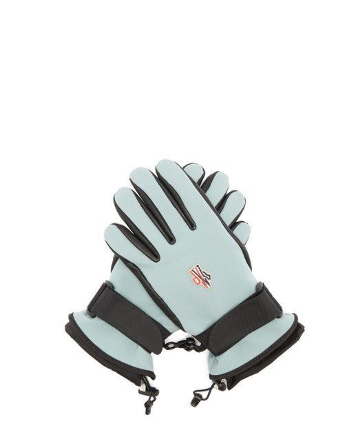 3 MONCLER GRENOBLE テクニカルツイル&レザー スキーグローブ Blue