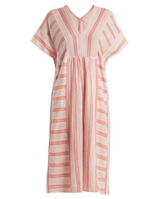 V-neck striped cotton dress Masscob wODzAEm