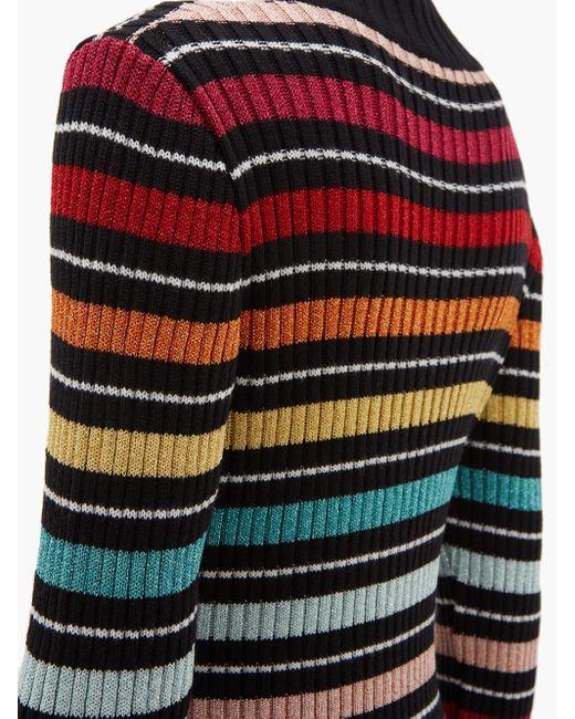 Mary Katrantzou レインボー ボーダー リブニットドレス Multicolor