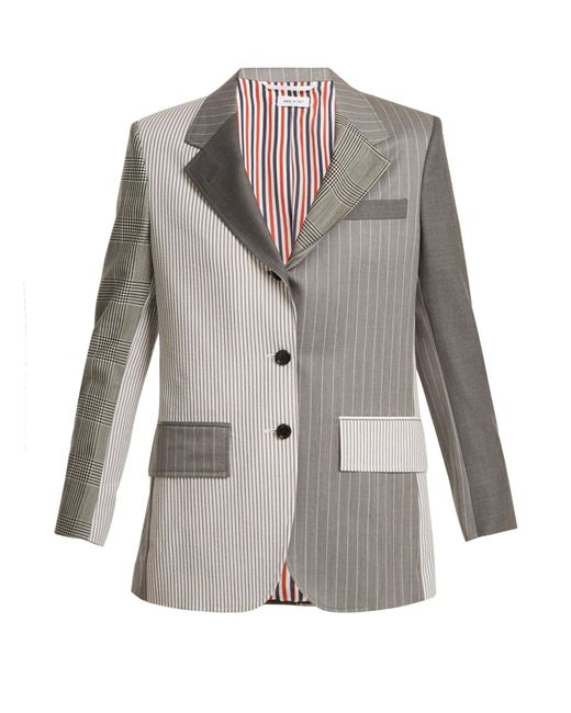 Thom Browne | Gray Single-breasted Contrast-panel Wool Blazer | Lyst