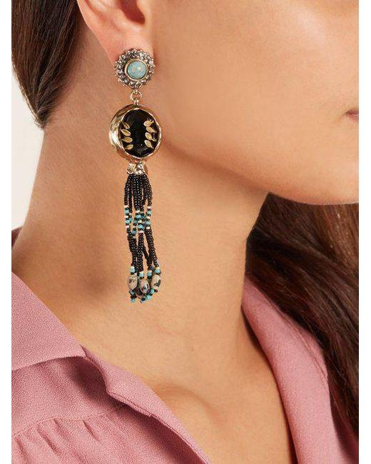 Etro Bead-embellished tassel-drop earrings vCdCaR