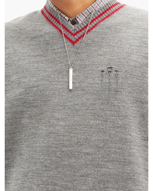 メンズ Maison Margiela ロゴペンダント スターリングシルバー ネックレス Multicolor