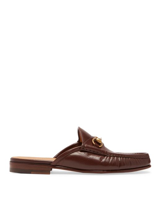 Gucci - Brown Roos Leather Backless Loafers for Men - Lyst