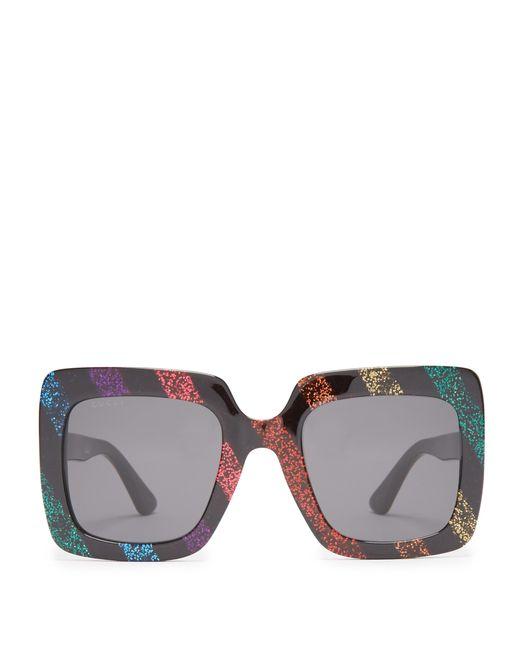 705bad98e8 Gucci - Multicolor Glitter Square Acetate Sunglasses - Lyst ...