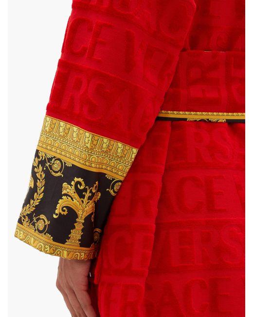 メンズ Versace I Love Baroque プリント コットンバスローブ Red