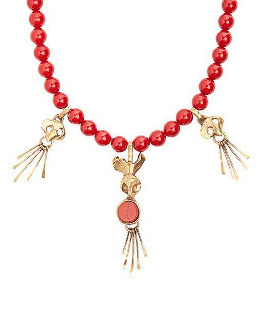 Skull-pendant beaded necklace Valentino BsJTPM87b
