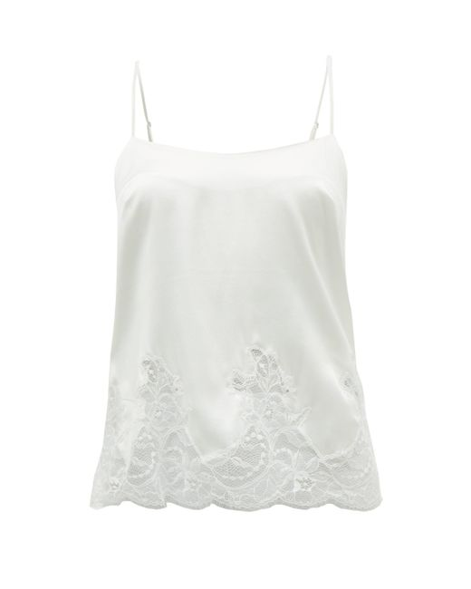 Fleur Of England White Signature Lace-trimmed Silk-blend Camisole