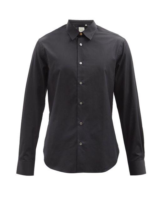 メンズ Paul Smith ポイントカラー コットンポプリンシャツ Black