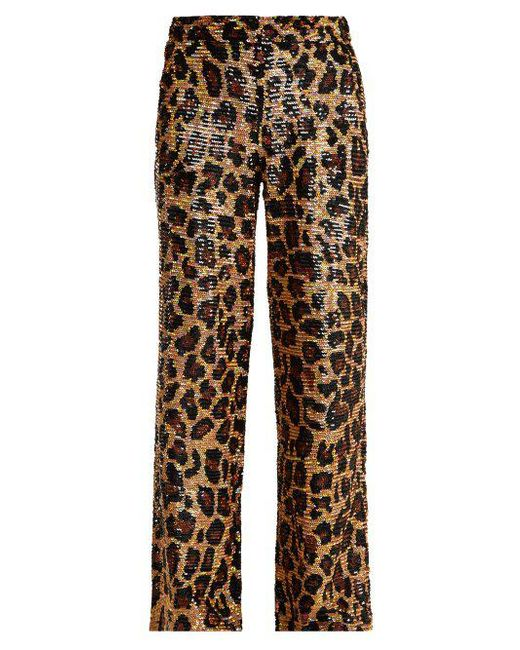 Ashish - Brown Leopard Sequin-embellished Cotton Trousers - Lyst