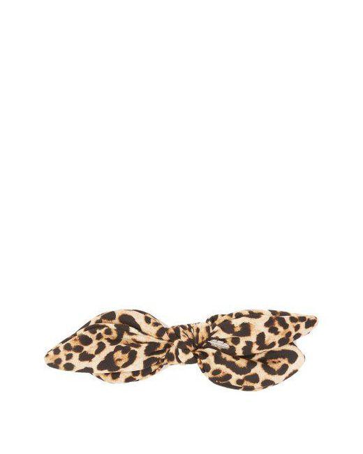 House of Lafayette Leopard-print silk bow scrunchie OjZSUNkdd6