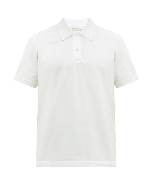 メンズ Bottega Veneta ショートスリーブ コットンピケ ポロシャツ White