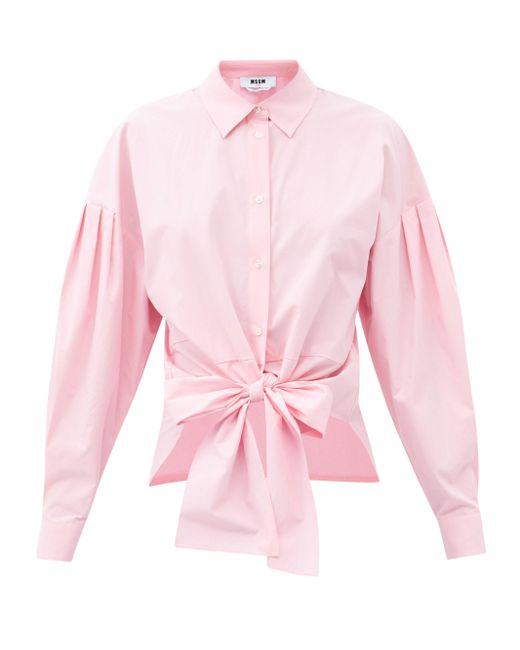 MSGM フロントタイ コットンシャツ Pink