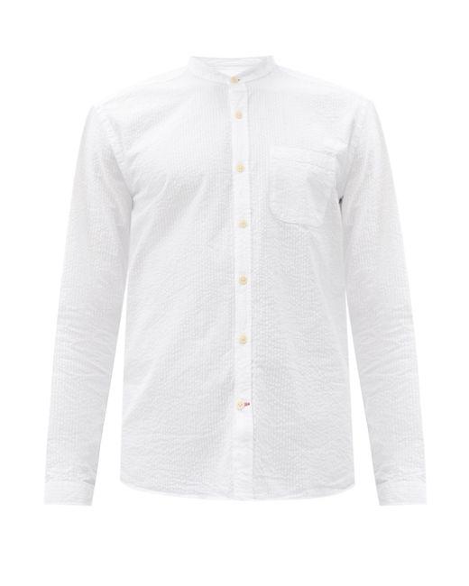 メンズ Oliver Spencer ノーカラー オーガニックコットンシャツ White