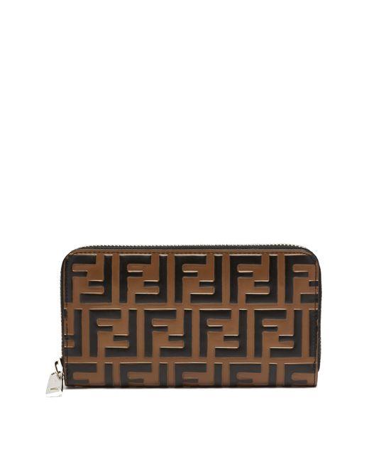 Fendi - Multicolor Logo Embossed Leather Wallet for Men - Lyst