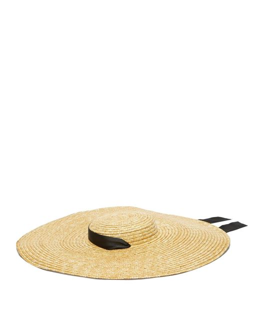 Eliurpi Natural Grosgrain Tie Wide Brim Straw Hat