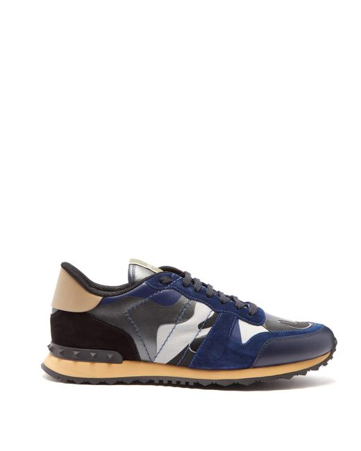 Valentino Blue Garavani Rockrunner Metallic Camouflage-print Canvas, Leather And Suede Sneakers for men
