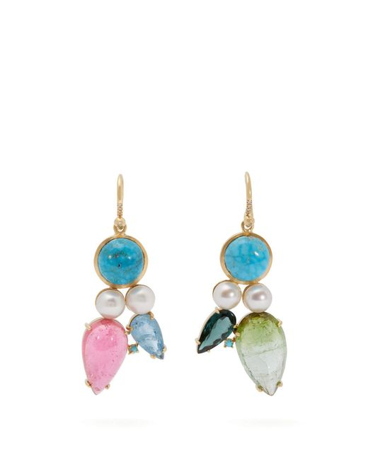 Irene Neuwirth - Green 18kt Gold & Multi-stone Mismatched Earrings - Lyst