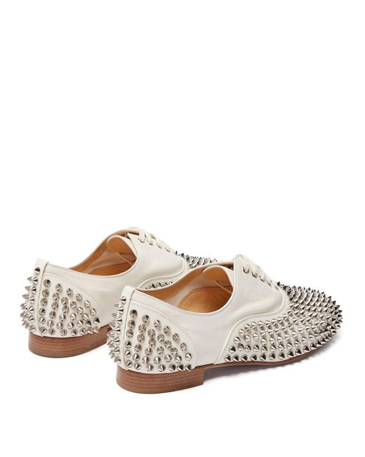 reputable site ff3ec a497f Women's White Freddy Spike Embellished Leather Oxford Shoes