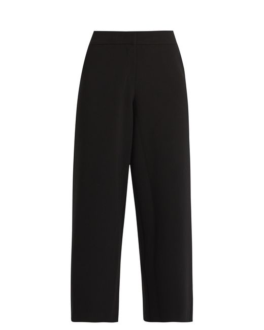 Saloni   Black Caroline Wide-leg Stretch-crepe Cropped Trousers   Lyst
