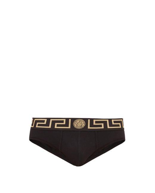 メンズ Versace ロゴ ローライズ コットンブリーフ Black