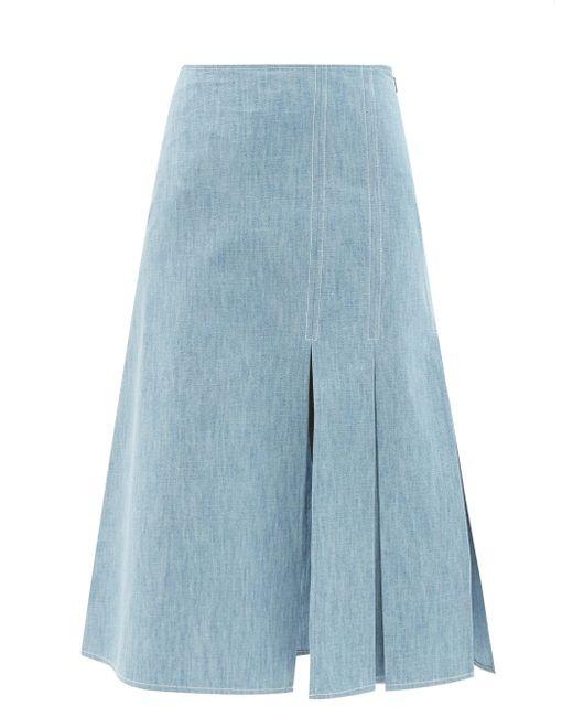 Fendi コットンシャンブレースカート Blue
