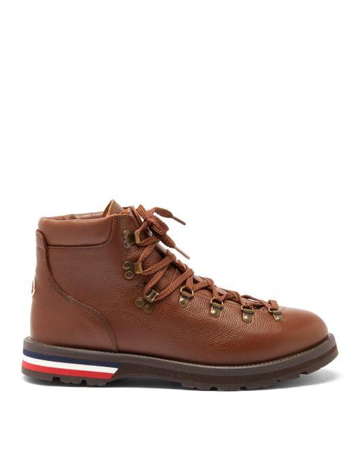Moncler Multicolor Logo-appliqué Grained-leather Hiking Boots for men
