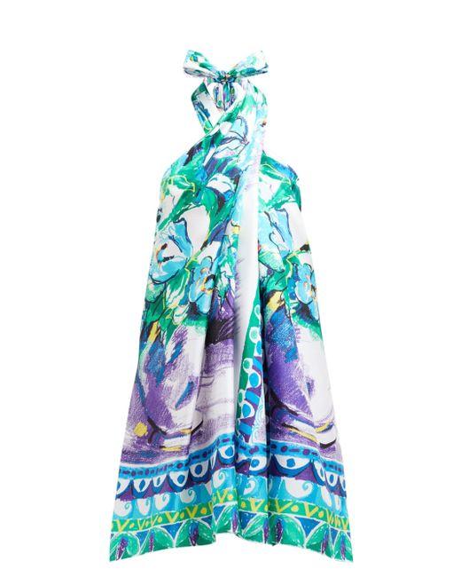 Robe dos-nu en satin de soie à imprimé fleuri Prada en coloris Blue