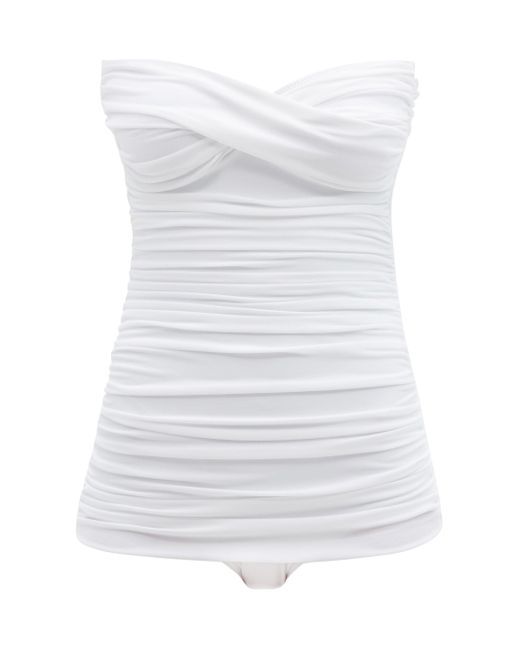 Norma Kamali ウォルター ストラップレス シャーリングスイムウェア White