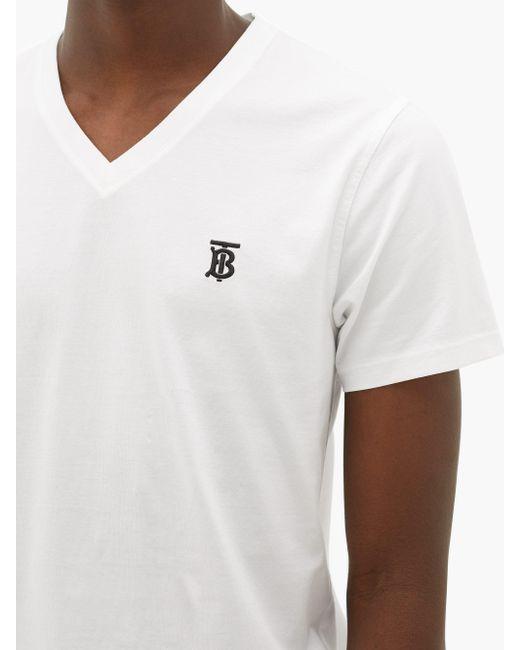 メンズ Burberry Tbモノグラム コットンtシャツ White