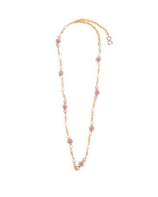 Dolce & Gabbana - Metallic Rose-embellished Necklace - Lyst