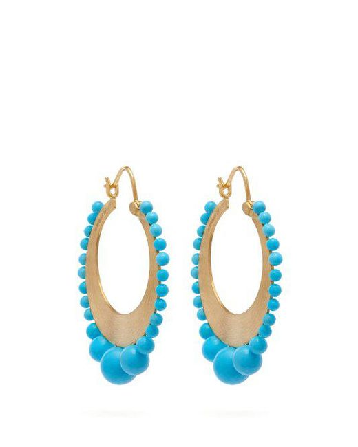 Irene Neuwirth - Multicolor - 18kt Gold & Kingman Turquoise Earrings - Womens - Gold - Lyst