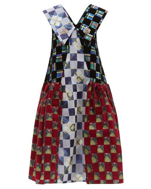 Chopova Lowena オーバーサイズカラー フロックタフタ ミディドレス Multicolor