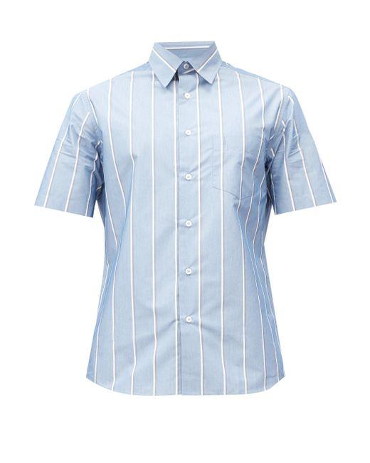 メンズ Dunhill ストライプ コットンブレンドポプリンシャツ Blue