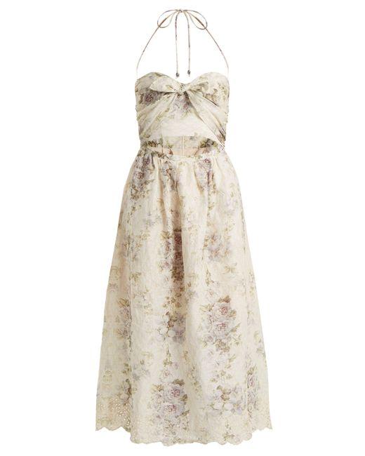 Zimmermann - Natural Iris Picnic Floral Print Linen Dress - Lyst