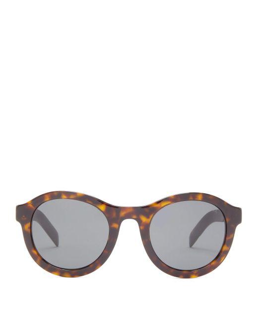 Prada Brown Round Tortoiseshell-acetate Sunglasses for men