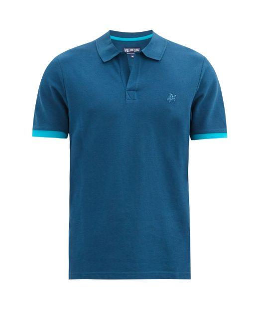 Vilebrequin Blue Palatin Logo-embroidered Cotton Polo Shirt for men