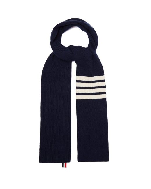 Thom Browne - Blue Stripe-detail Ribbed-knit Cashmere Scarf for Men - Lyst