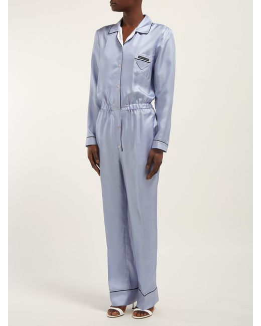 b6eb4c2d3918 ... Prada - Blue Silk-twill Jumpsuit - Lyst ...