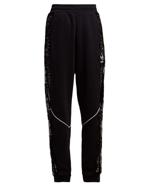 Stella McCartney - Black Lace Insert Stripe Trimmed Trackpants - Lyst