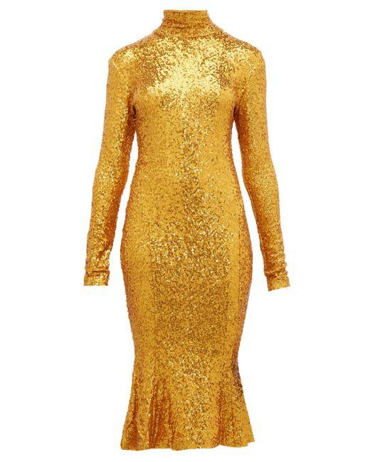 Norma Kamali ハイネック スパンコール ドレス Yellow