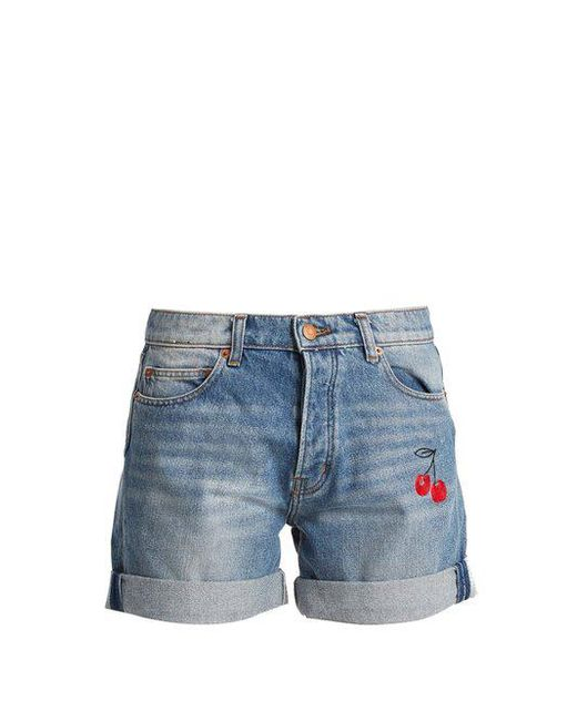 Bliss and Mischief - Blue Cherry-embroidered Denim Shorts - Lyst