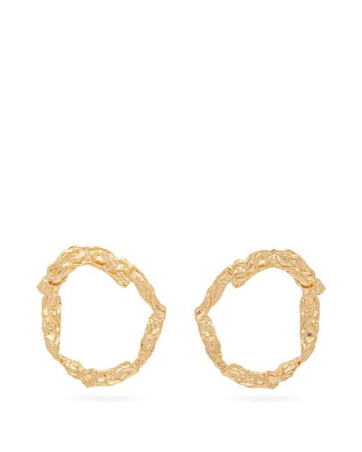 Chloé Metallic Anouck Crinkled Gold Tone Hoop Earrings