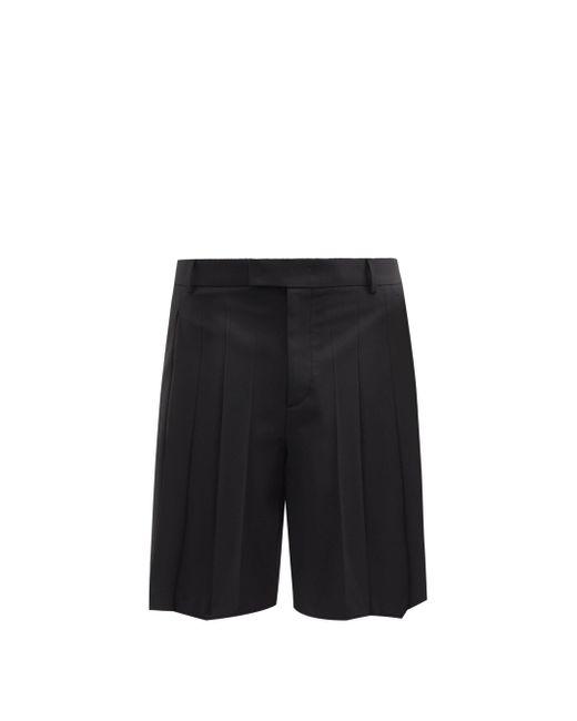 メンズ Valentino プリーツツイル バミューダショートパンツ Black