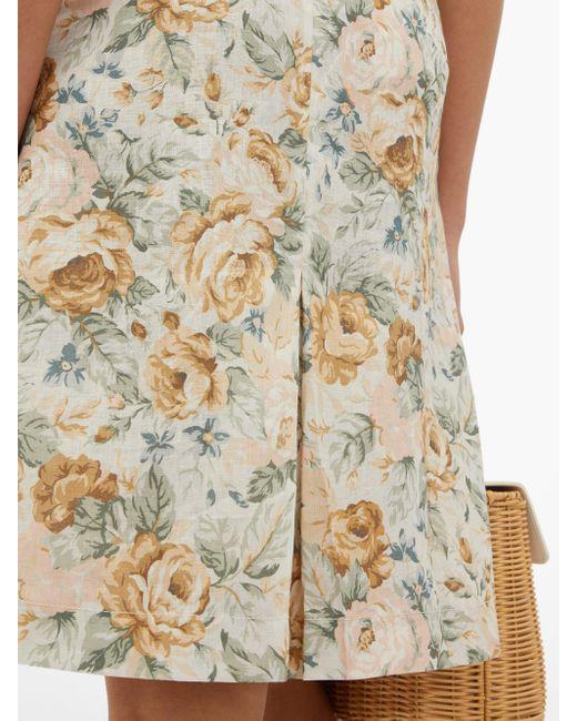 Jupe taille haute en lin à imprimé floral Ephemera en coloris Multicolor