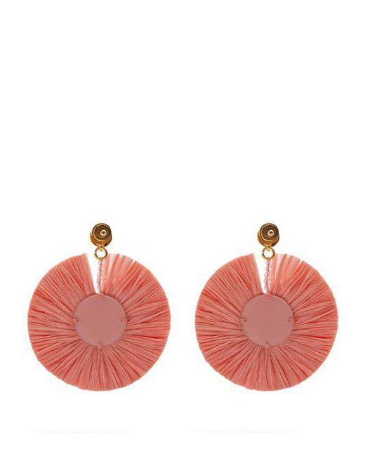 Bead-embellished small raffia disc-drop earrings Oscar De La Renta o5CB4asz3