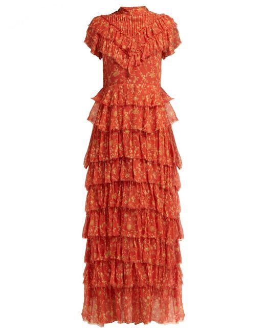SIR Red Posey Floral-print Crinkle-silk Midi Dress